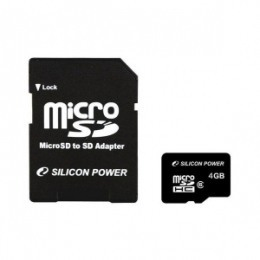 Silicon Power microSDHC 4 GB Class 4 + SD-адаптер (SP004GBSTH004V10-SP)