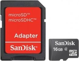 Карта пам'яті Sandisk microSDHC 16 GB Class 4 (+ SD адаптер)