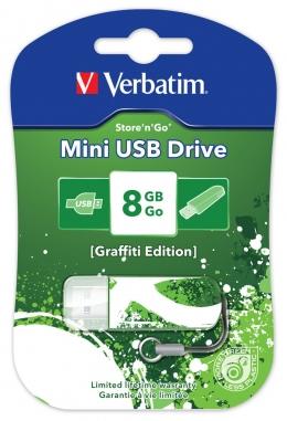 USB-флеш-накопичувач Verbatim Mini USB Drive 8Gb Graffiti Edition Green