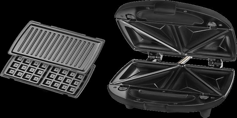 Бутербродниця ECG S 299 3в1 Black - фото 4.