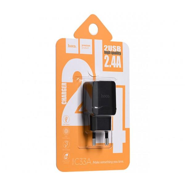 Зарядний пристрій Hoco C33A 2.4A Black - фото 3.