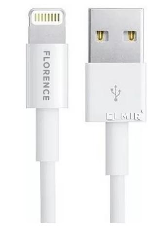 USB кабель Florence Wizer Lightning 1m 2.4A White (FL-2111-WL) - фото 2.