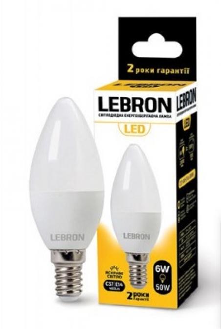 Світлодіодна лампочка Lebron С37 6W Е14 4100K 480Lm