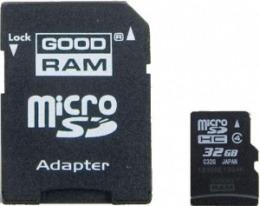 Карта пам'яті GOODRAM microSDHC 32 GB Class 4 (+ адаптер)