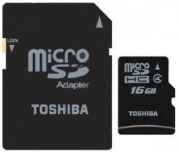 Карта пам'яті Toshiba microSD 16 GB Class 4 (+ SD адаптер)
