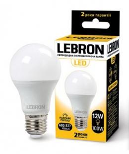 Світлодіодна лампочка Lebron A60 12W Е27 4100K 1100Lm (11-11-46)