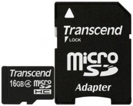 Карта пам'яті Transcend microSDHC 16 GB Class 4 + SD адаптер (TS16GUSDHC4)