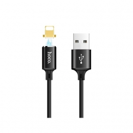 USB кабель Hoco U28 Magnetic Adsorption Lightning-USB 1m Black