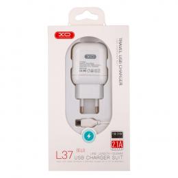 Зарядний пристрій XO L37 1USB + microUSB cable White (XO-L37)