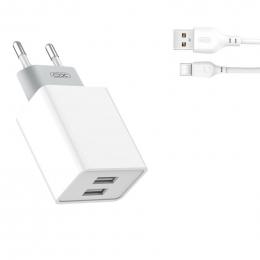 Зарядний пристрій XO L65 2USB 2.4A + Type-C cable White (XO-L65)