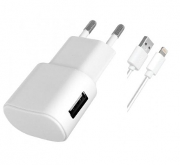 Зарядний пристрій Florence 1USB 1 A + Lightning cable White (FW-1U010W-L)