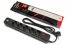 Мережевий фільтр FrimeCom 5 розеток 2хUSB 1.8m Black (FC-BU4005W 1.8 B)