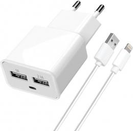 Зарядний пристрій Florence 2 USB 2A Lightning cable FW-2U020W-L