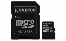 Карта пам'яті Kingston microSD 8GB Class 10 + SD адаптер