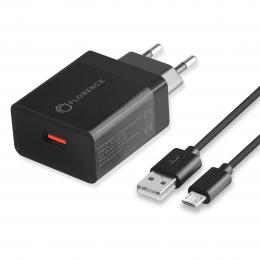Зарядний пристрій Florence 1USB QC 3.0 + microUSB cable Black (FL-1050-KM)