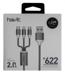 USB кабель Havit H622 3в1 (microUSB/Lightning/Type-C)