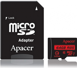 Карта пам'яті Apacer microSDXC UHS-I 85R 64GB сlass10 + SD adapter (AP64GMCSX10U5-R)