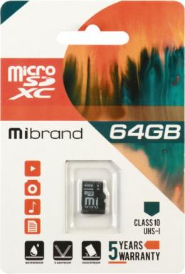 Карта пам'яті Mibrand 64 GB microSDXC Class 10 UHS-I MICDXU1/64GB