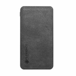 Зовнішній акумулятор Florence Leather 10000mAh Black (FL-3024-K)