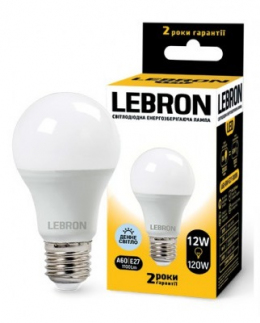Світлодіодна лампочка Lebron L-A60 12W Е27 6500K 1100LM КУТ 240°