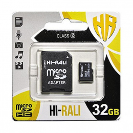 Карта пам'яті Hi-Rali 32 GB micro SDHC Class 10 + SD адаптер (HI-32GBSDCL10-01)
