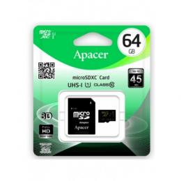 Карта пам'яті Apacer microSDXC 64GB UHS-I Class 10 + SD-adapter (AP64GMCSX10U1-R)