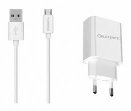 Зарядний пристрій Florence 1USB 2A + microUSB cable white (FL-1020-WM)