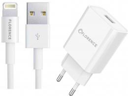 Зарядний пристрій Florence 1USB 2A + lightning cable White (FL-1020-WL)