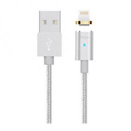 USB кабель Hoco U40 Magnetic Adsorption Lightning-USB 1m Silver