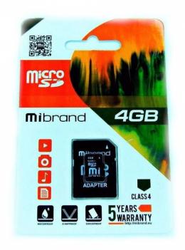 Карта пам'яті Mibrand 4 GB microSDHC Class 4 + SD Adapter MICDC4/4GB-A