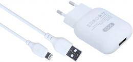 Зарядний пристрій XO L37 1USB + Lightning cable White