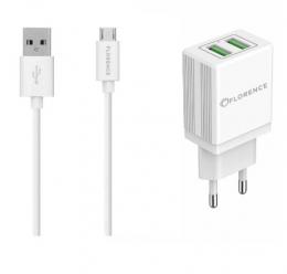 Зарядний пристрій Florence 2USB 2A + microUSB cable white (FL-1021-WM)