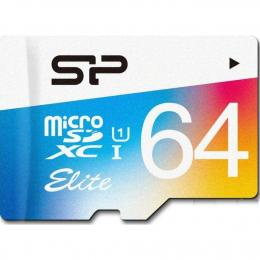 Карта пам'яті Silicon Power 64 GB microSDXC Class 10 UHS-I Elite Color + SD adapter SP064GBSTXBU1V21SP