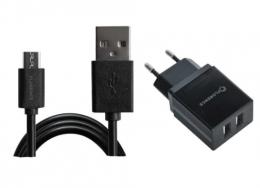 Зарядний пристрій Florence 2USB 2A + microUSB cable black (FL-1021-KM)
