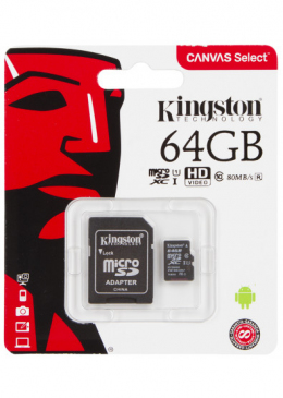Карта пам'яті Kingston microSDXC 64GB C10 UHS-I + SD адаптер (SDCS/64GB)