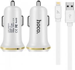 Зарядний пристрій HOCO Z1 Dual USB Car Charger with iPhone Cable White