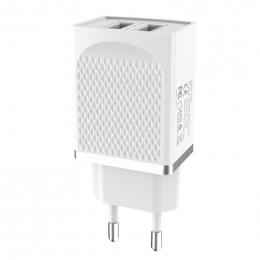 Зарядний пристрій Hoco C43A Vast Power 2USB White