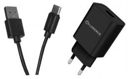 Зарядний пристрій Florence 1USB 2A + Type-C cable black (FL-1020-KT)