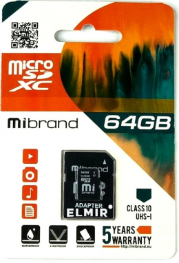 Карта пам'яті Mibrand 64 GB microSDXC Class 10 UHS-I + SD Adapter MICDXU1/64GB-A