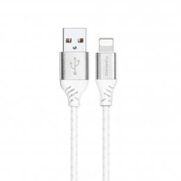 USB кабель Florence Technic Lightning 1m 3A White (FL-2204-WL)