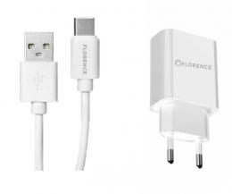 Зарядний пристрій Florence 1USB 2A + Type-C cable white (FL-1020-WT)