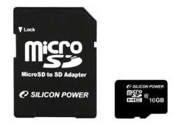 Карта пам'яті Silicon Power microSDHC 16 Gb Class 10 + SD adapter (SP016GBSTH010V10SP)