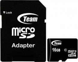 Карта пам'яті Team microSDHC 16 Gb Class 10 + SD