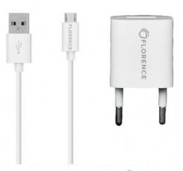 Зарядний пристрій Florence 1USB 1A + microUSB cable white (FL-1000-WM)