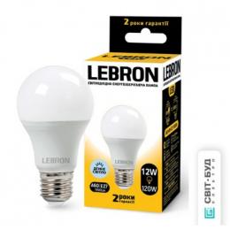 Світлодіодна лампочка Lebron L-A60 12W Е27 6500K 1100LM КУТ 240° (11-11-47)