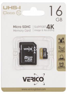 Карта памяти Verico MicroSDHC 16GB UHS-I Class 10 + SD adapter (1MCOV-MAH9G3-NN)
