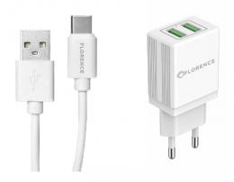 Зарядний пристрій Florence 2USB 2A + Type-C cable white (FL-1021-WT)
